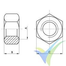 Tuerca M3 hexagonal inoxidable A2 DIN-934, 1 unidad