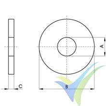 Arandela plana ancha M3, inoxidable A2, DIN-9021, 1 unidad