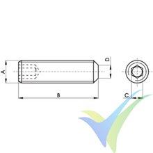 M3x10 Allen Capscrew stainless A2 DIN-913, beveled tip, 1 pc