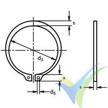 Arandela seguridad para eje 3mm, DIN-471 E, 1 ud