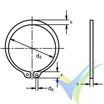 Arandela seguridad para eje 4mm, DIN-471 E, 1 unidad