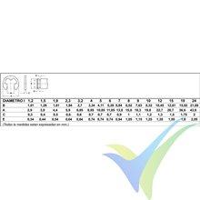 Arandela seguridad para eje 4mm, DIN-6799, 1 unidad