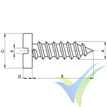2.9x19 Sheet metal thread screw, slotted round cylindrical head, stainless A2, DIN-7971, 1 pc