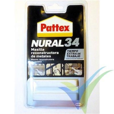 Masilla epoxy reconstructora de metales Nural 34, 50 gr