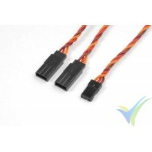 Cable silicona trenzado Y 15cm para servos JR/Hitec, 0.33mm2 (22AWG) 60 venillas, G-Force