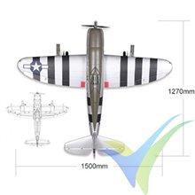 Combo avión FMS P-47 Razorback 'Bonnie' ARTF 1500mm, 3700g
