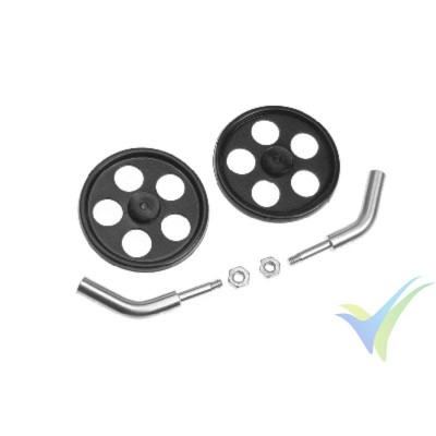 G-Force RC - Landing Gear Axle - Angled - 2mm Carbon Rod - Incl. Wheels - 1 Set