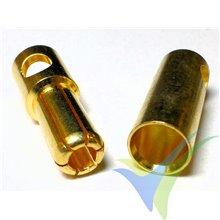 Conector banana 5.5mm, metalizado oro, macho y hembra, 5.1g