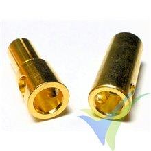 Conector banana 5.5mm, metalizado oro, macho y hembra, 3.8g