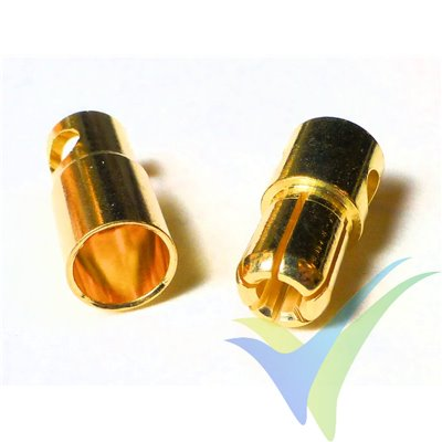 Banana connector 6mm, gold plated, male and female, 5.1g