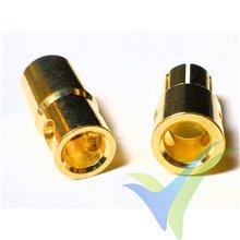 Conector banana 6mm, metalizado oro, macho y hembra, 5.1g