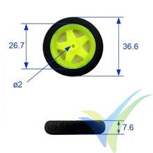 Rueda 36x7mm espuma A2Pro 4432, eje 2mm, 1.7g, 2 unidades