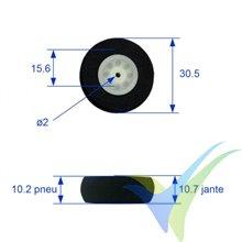 Rueda 30mm espuma ultraligera A2Pro 4441, eje 2mm, 1.8g, 2 unidades