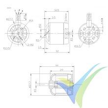 Motor brushless Pro-Tronik/Motrolfly DM 2215-750, 58g, 130W, 750Kv