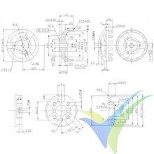 Motor brushless Pro-Tronik/Motrolfly DM 2210-1700, 43g, 140W, 1700Kv