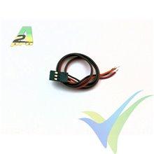 Repuesto cable servo 25cm JR/Hitec, 0.16 mm2 (25AWG), conector macho metalizado oro, A2Pro 10005, 1 ud