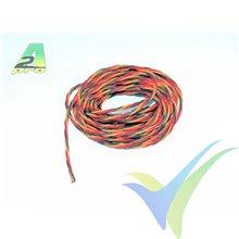 1m cable trenzado de servo JR, marrón-rojo-naranja, 0.5 mm2 (20AWG), A2Pro 16055