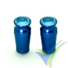 Capuchón aluminio 21mm para interruptor emisora, taladro 5.5mm, azul, 2 uds