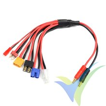Cable de carga universal 6 en 1 G-Force, Deans, XT-60, EC-3, Tamiya, TRX, BEC - cable silicona 14AWG 30cm