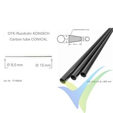 Tubo cónico de carbono, tejido liso 3k, 15x9.5x0.4, longitud 625mm, 18g