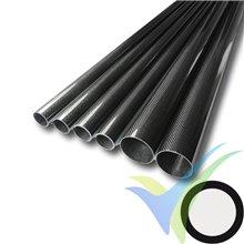 Tubo redondo de carbono Ø18 x 16 x 1000mm, tejido liso 3k, 85g