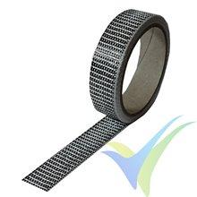 Cinta de fibra de carbono 25mm unidireccional 125g/m², 3k, rollo 5m