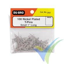 Alfileres de construcción 25mm Dubro 252, 100 unidades