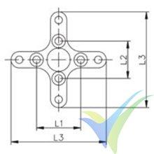 Rear crossarm + propeller mount, for EMP 28xxx motor, polished aluminium