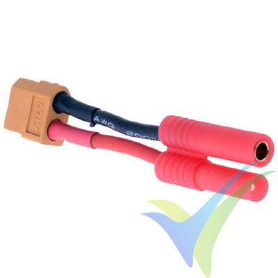 Adaptador de conector XT60 hembra a HXT rojo de 4mm