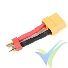 Adaptador de conector Deans macho a XT90 hembra, cable silicona 3.31mm2 (12AWG), G-Force
