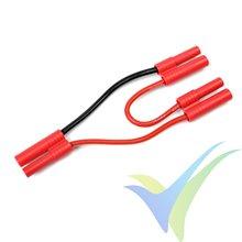 Adaptador de conector HXT 4mm a dos HXT 4mm en serie, cable silicona 2.08mm2 (14AWG) 12cm, G-Force
