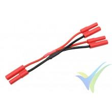 Adaptador de conector HXT 4mm a dos HXT 4mm en paralelo, cable silicona 2.08mm2 (14AWG) 12cm, G-Force