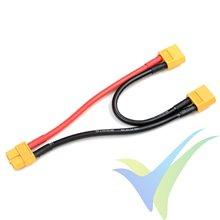 Adaptador de conector XT60 hembra a dos XT60 macho en serie, cable silicona 3.31mm2 (12AWG) 12cm, G-Force