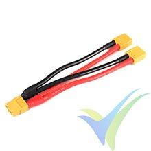 Adaptador de conector XT60 hembra a dos XT60 macho en paralelo, cable silicona 3.31mm2 (12AWG) 12cm, G-Force