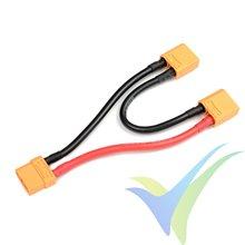 Adaptador de conector XT90 hembra a dos XT90 macho en serie, cable silicona 5.26mm2 (10AWG) 12cm, G-Force