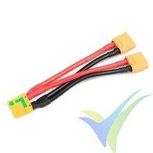 Adaptador de conector XT90 hembra antichispas a dos XT90 macho en paralelo, cable silicona 5.26mm2 (10AWG) 12cm, G-Force