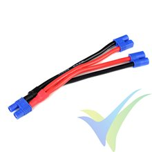 Adaptador de conector EC3 hembra a dos EC3 macho en paralelo, cable silicona 3.31mm2 (12AWG) 12cm, G-Force