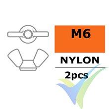 Tuerca de mariposa G-Force, M6, Nylon, 2 uds
