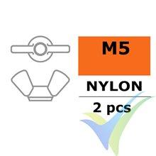 Tuerca de mariposa G-Force, M5, Nylon, 2 uds