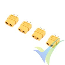 Conector XT60 G-Force, metalizado oro, hembra, 4 uds
