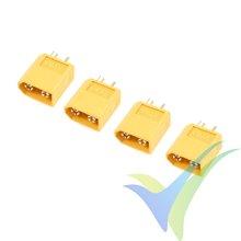 Conector XT60 G-Force, metalizado oro, macho, 3.4g, 4 uds