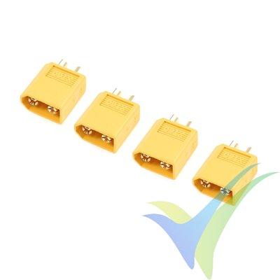 Conector XT60 G-Force, metalizado oro, macho, 4 uds