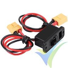 Interruptor de alimentación con conectores XT60 y toma de carga, cable silicona 0.82mm2 (18AWG)