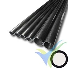 Tubo redondo de carbono Ø22 x 20 x 1000mm, tejido liso 3k, 100g