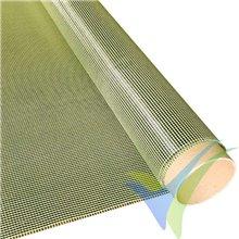 Tela fibra carbono/kevlar 68g/m2, tejido liso, rollo 100cm x 5m