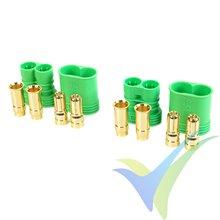 Conector CC 6.5 G-Force, metalizado oro, macho y hembra, 2 pares