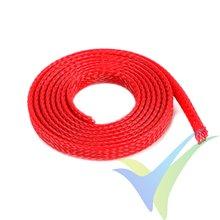 Manguito de malla rojo para protección de cables, 6mm, 1m