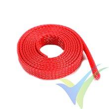 Manguito de malla rojo para protección de cables, 8mm, 1m