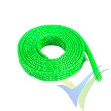 Manguito de malla verde neón para protección de cables, 8mm, 1m