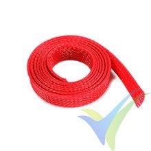 Manguito de malla rojo para protección de cables, 10mm, 1m